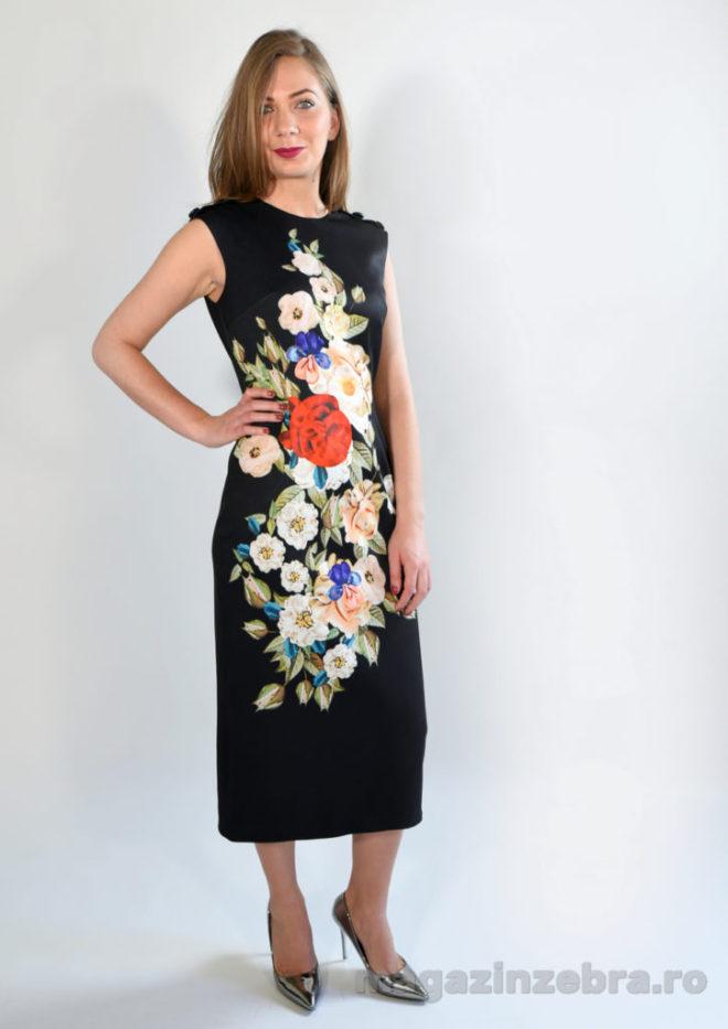 Rochie Midi Neagra Cu Imprimeu Floral