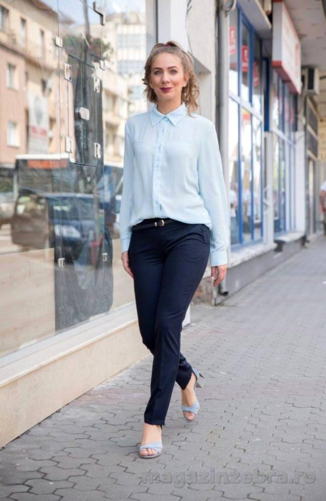 Pantaloni Office Bleumarin Cu Curea Fata