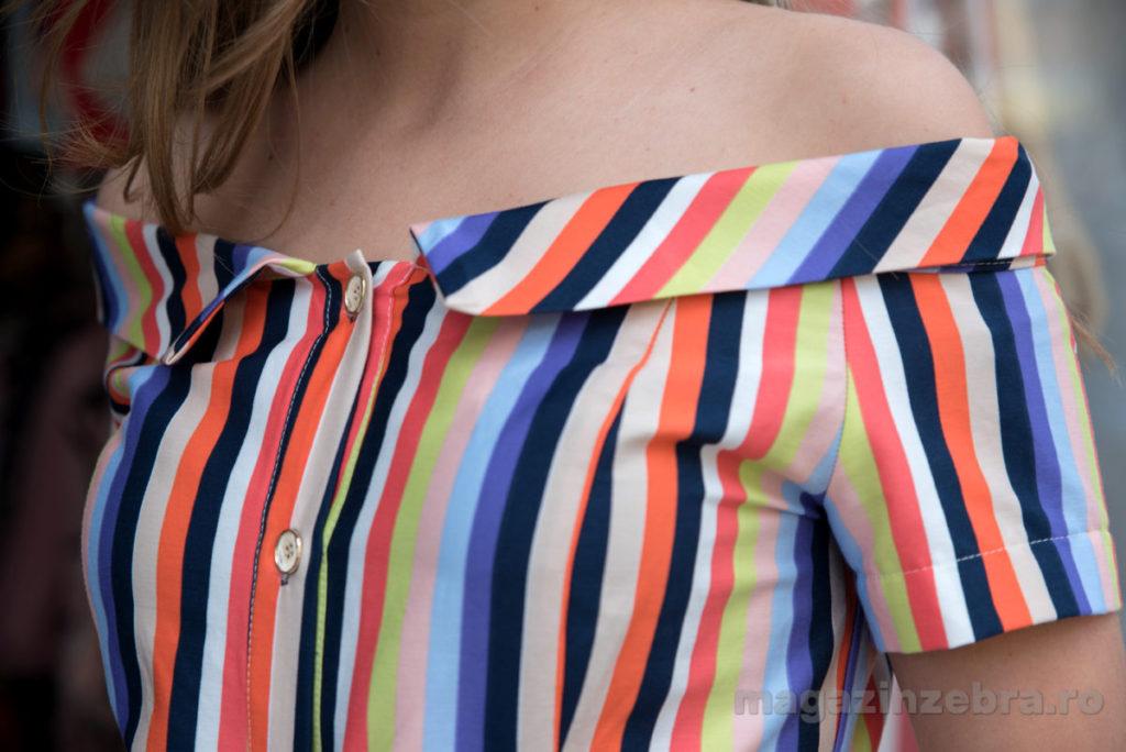 Rochie Casual Din Bumbac Cu Dungi Colorate Profil