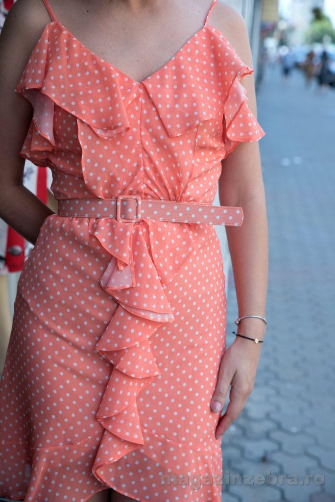 Rochie Casual Mini Pe Fond Orange Cu Buline Profil