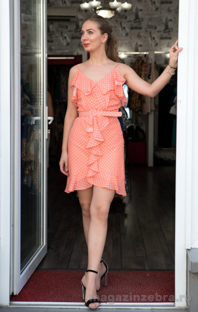 Rochie Casual Mini Pe Fond Orange Cu Buline