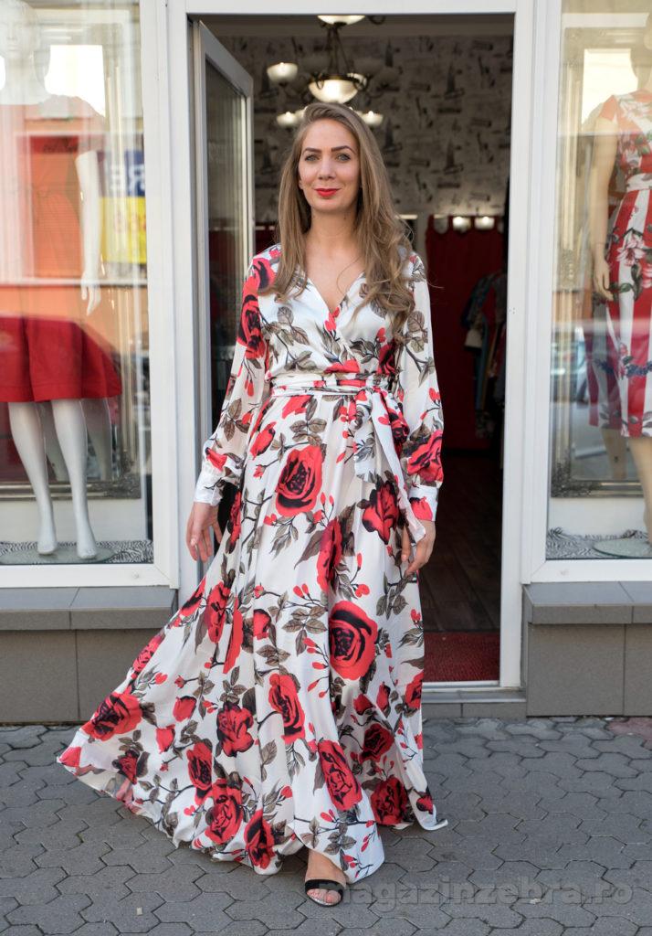 Rochie Lunga Eleganta Cu Imprimeu Floral Din Saten
