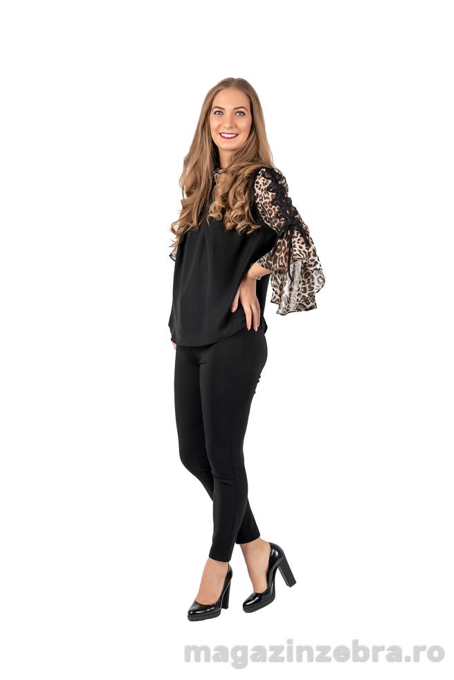 Bluza Neagra Eleganta Combinata Cu Animal Print
