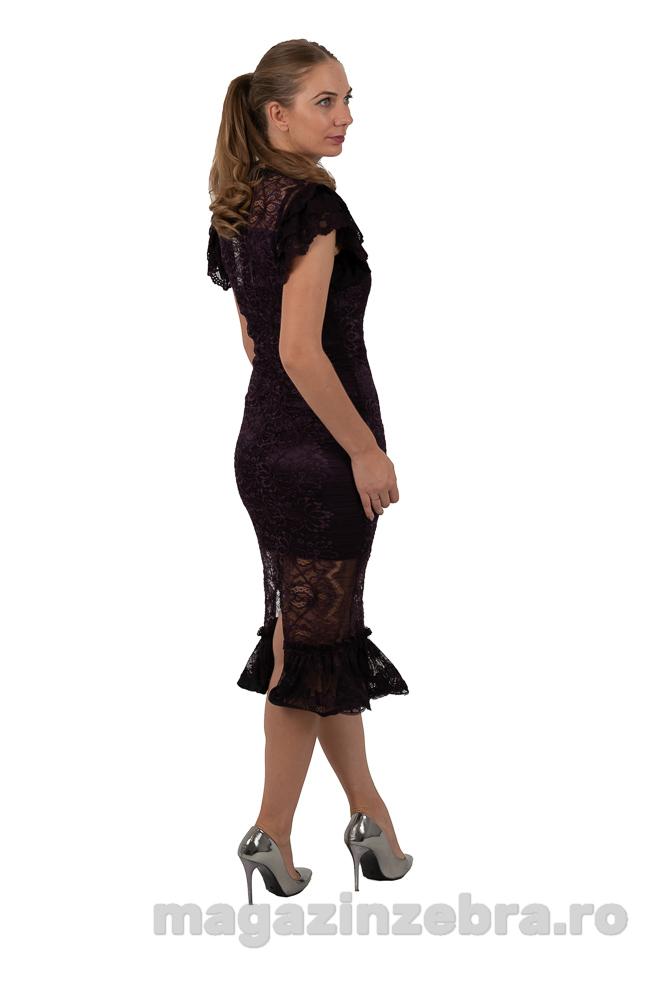 Rochie Eleganta Marsala Din Dantela Elastica Profil