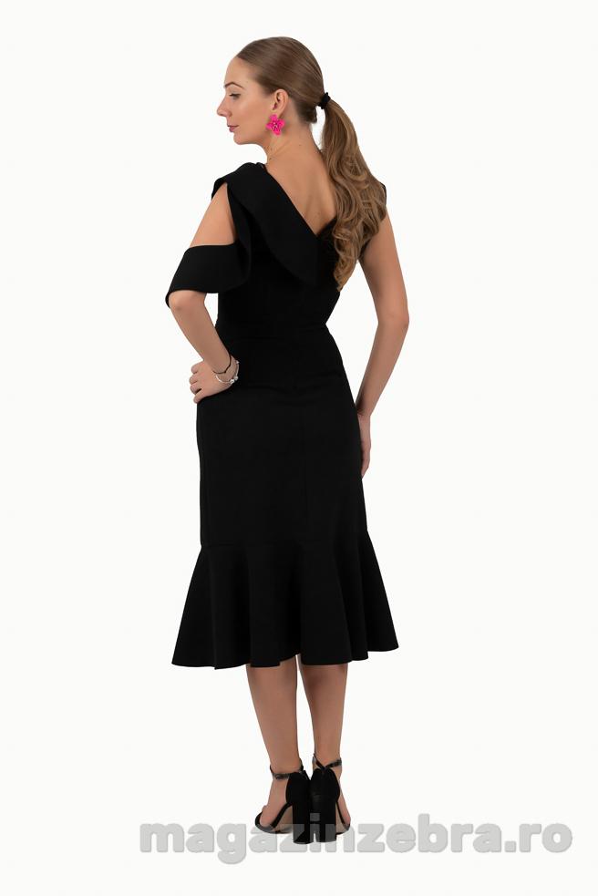 Rochie Eleganta Neagra Combinata Cu Ticlam Spate