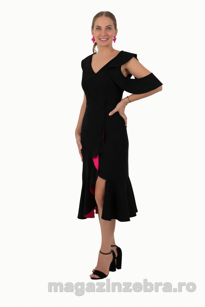 Rochie Eleganta Neagra Combinata Cu Ticlam
