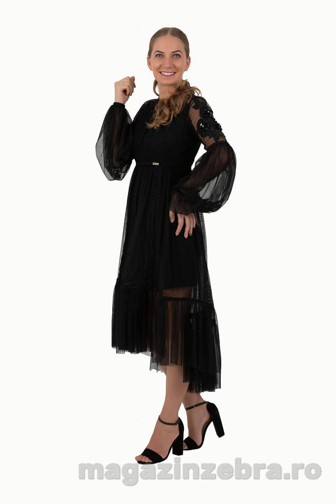 Rochie Eleganta Neagra Cu Aplicatii