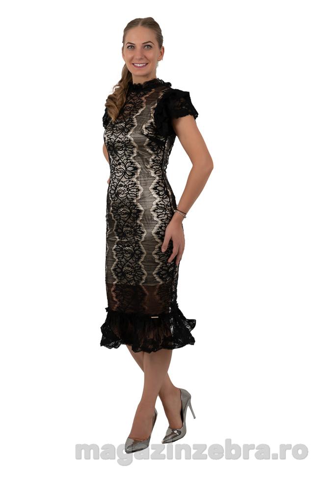 Rochie Eleganta Neagra Din Dantela Elastica