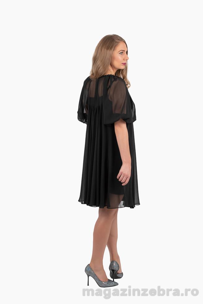 Rochie Neagra Eleganta Din Voal Cu Aplicatii Din Perle Spate