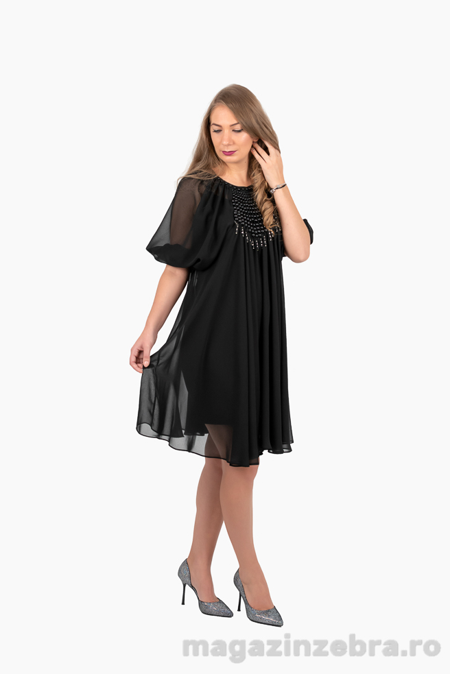 Rochie Neagra Eleganta Din Voal Cu Aplicatii Din Perle
