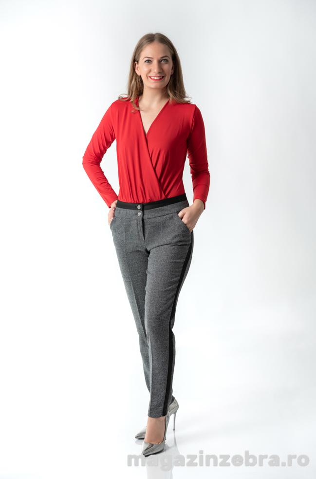 Pantalon Casual Gri Cu Dunga Neagra