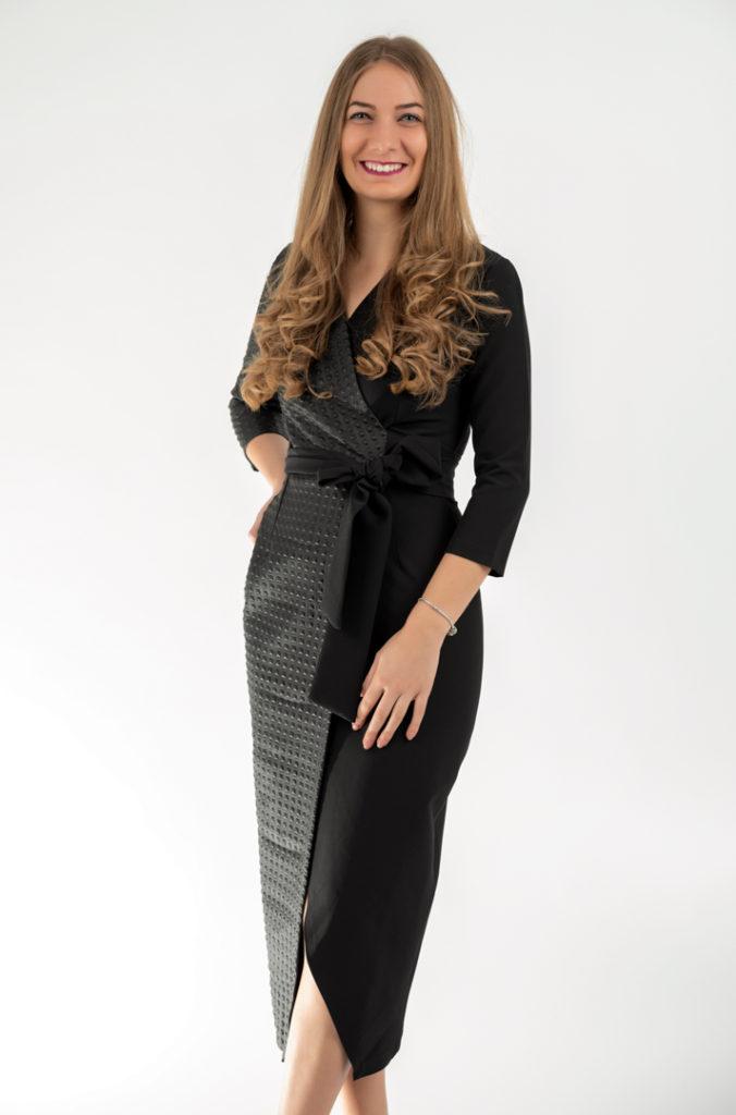 Rochie Eleganta Midi Neagra Din Material Elastic Si Piele Ecologica
