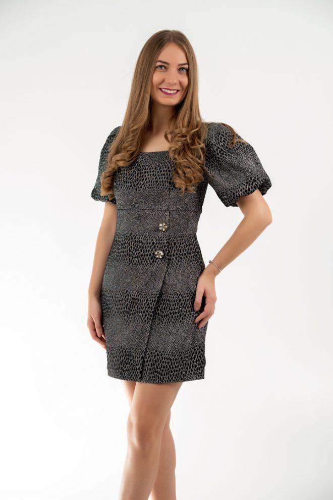 Rochie Eleganta Mini Neagra Cu Insertii Argintii Si Maneci Bufante