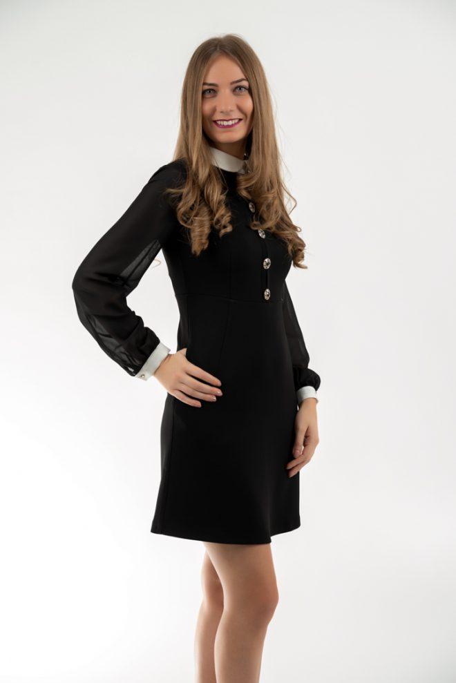 Rochie Eleganta Neagra Mini Cu Guler Si Mansete Albe