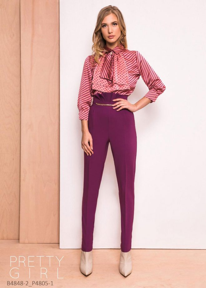 Pantalon Pretty Girl Visiniu Cu Talie Inalta