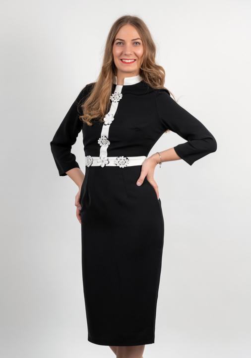 Rochie Conica Neagra Cu Alicatii Albe