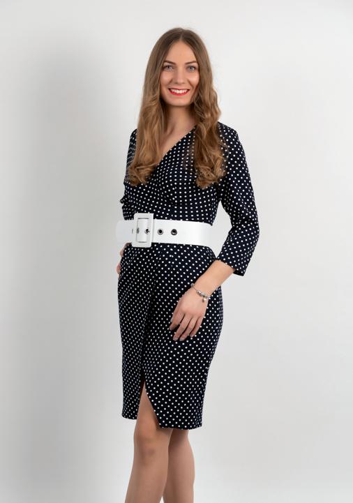 Rochie Mini Neagra Cu Buline Albe Si Centura