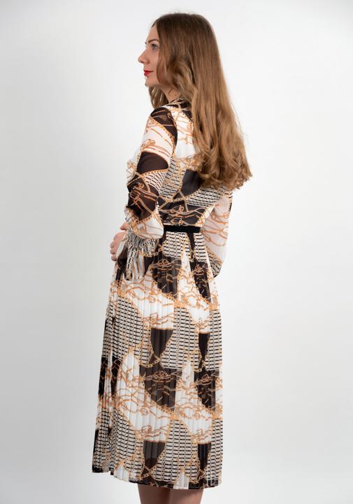 Rochie Plisata Din Voal Cu Imprimeu Color Spate