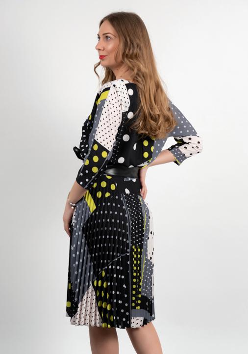 Rochie Plisata Multicolora Cu Cordon Spate