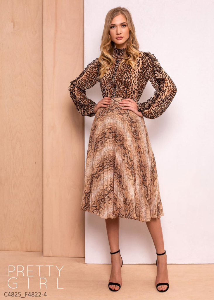 Fusta Plisata Animal Print Pretty Girl