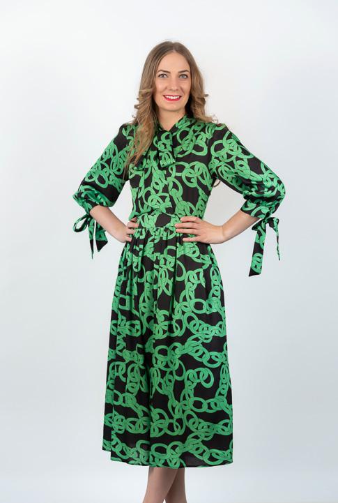 Rochie Midi Neagra Cu Imprimeu Verde