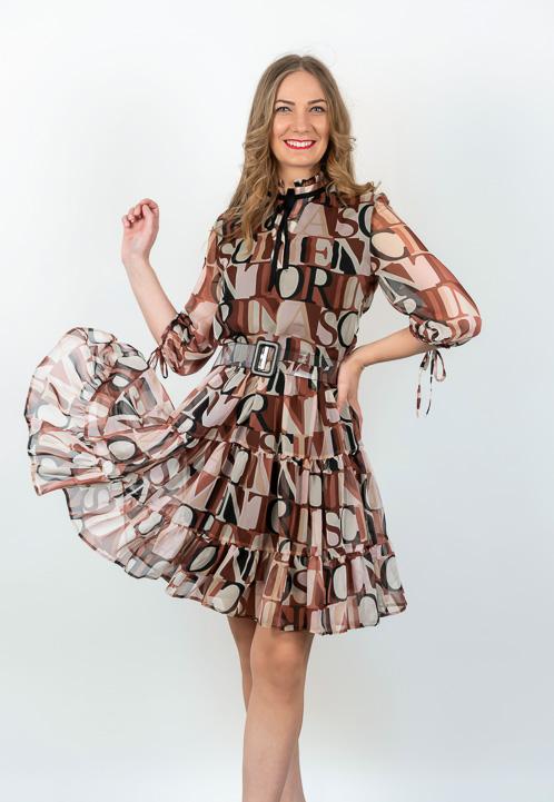 Rochie Mini In Clos Cu Imprimeu Si Centura