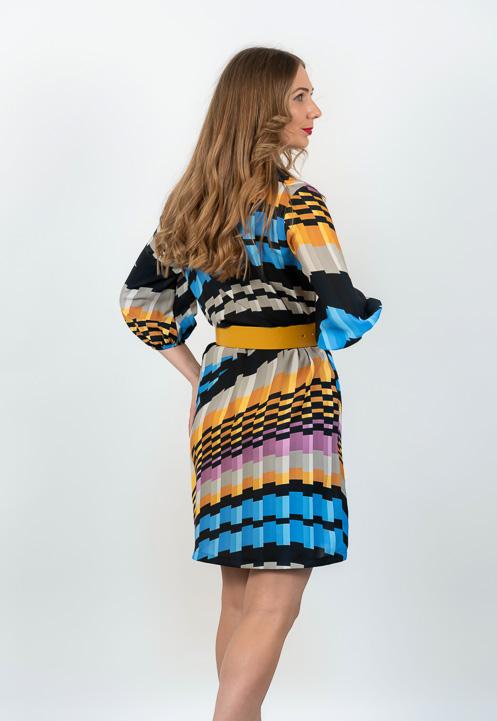 Rochie Mini Plisata Multicolora Spate