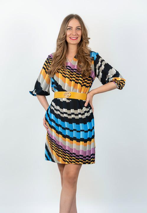 Rochie Mini Plisata Multicolora
