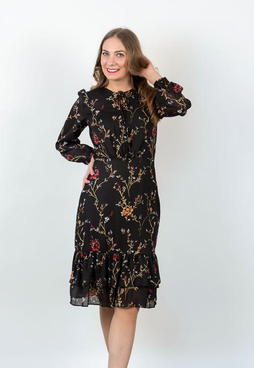 Rochie Neagra Cu Imprimeu Floral Si Volanase
