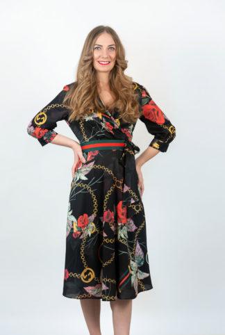 Rochie Neagra Eleganta Cu Imprimeu Floral