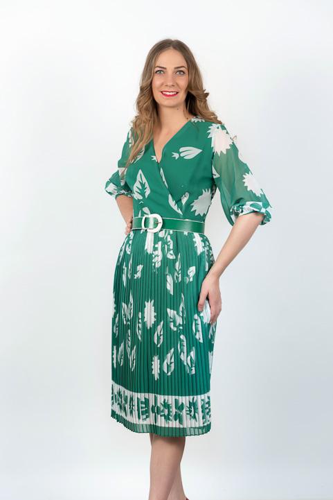 Rochie Plisata Verde Cu Imprimeu Si Centura