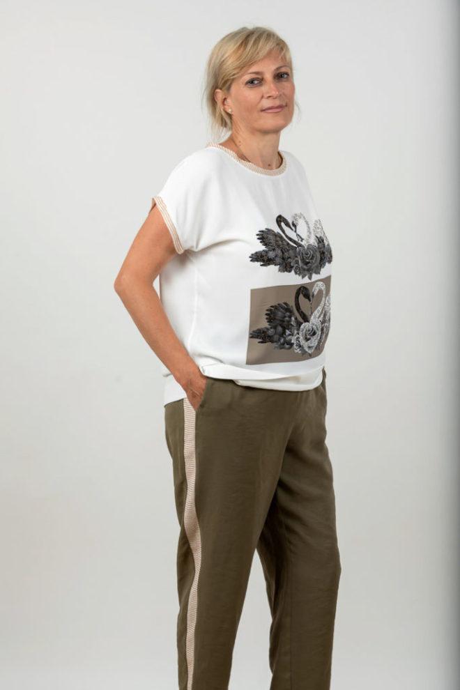 Compleu Plussize Cu Pantalon Kaki Si Top Alb