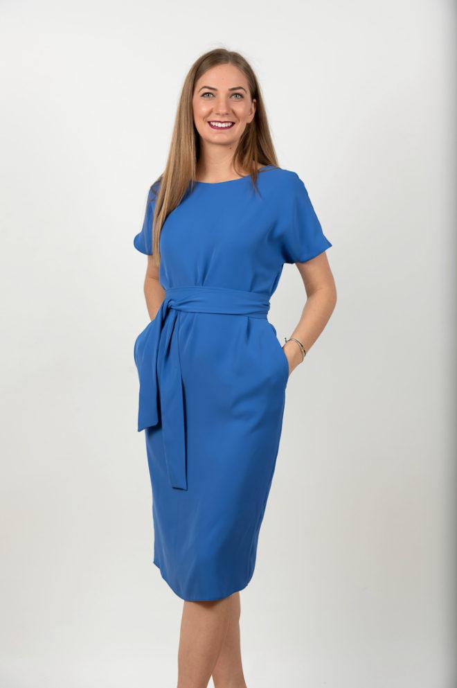 Rochie Eleganta Albastra In A Cu Cordon