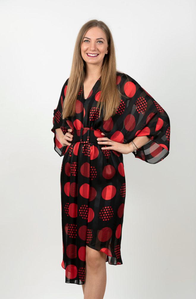 Rochie Eleganta Asimetrica Pe Fond Negru Cu Buline Rosii