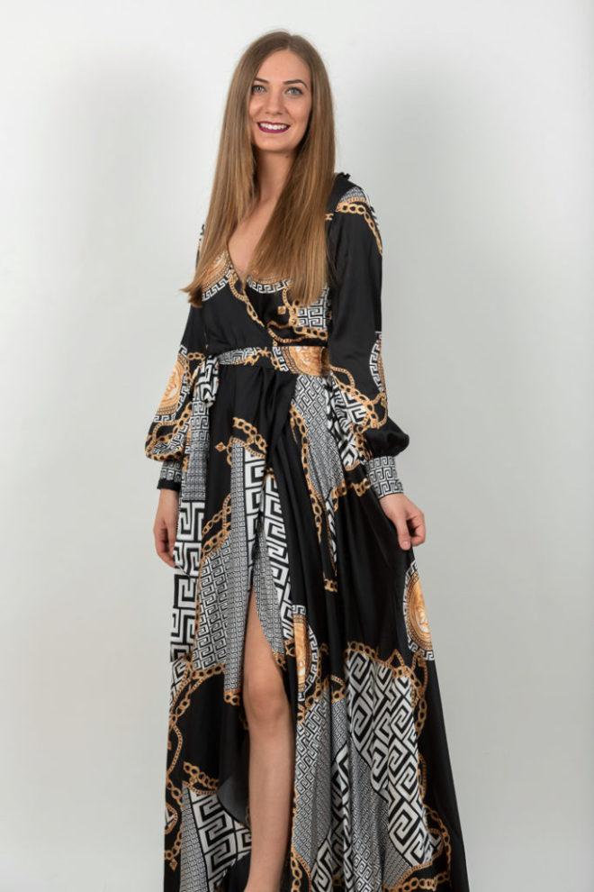 Rochie Lunga Eleganta Neagra Cu Imprimeu