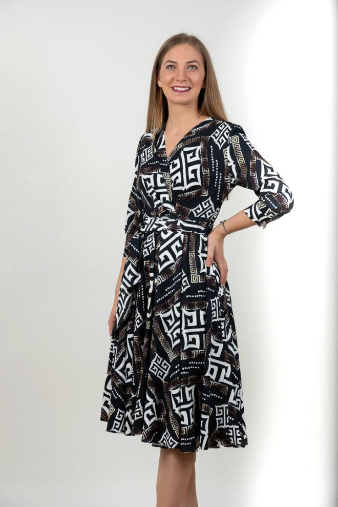 Rochie Neagra In Clos Cu Imprimeu