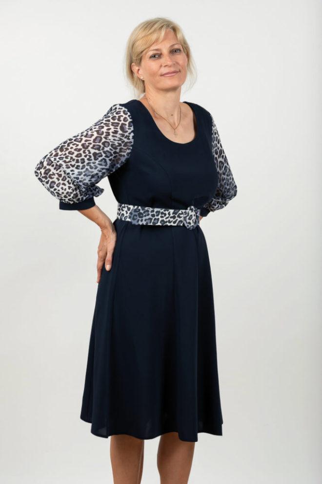 Rochie Plussize Eleganta Bleumarin Si Maneci Animal Print