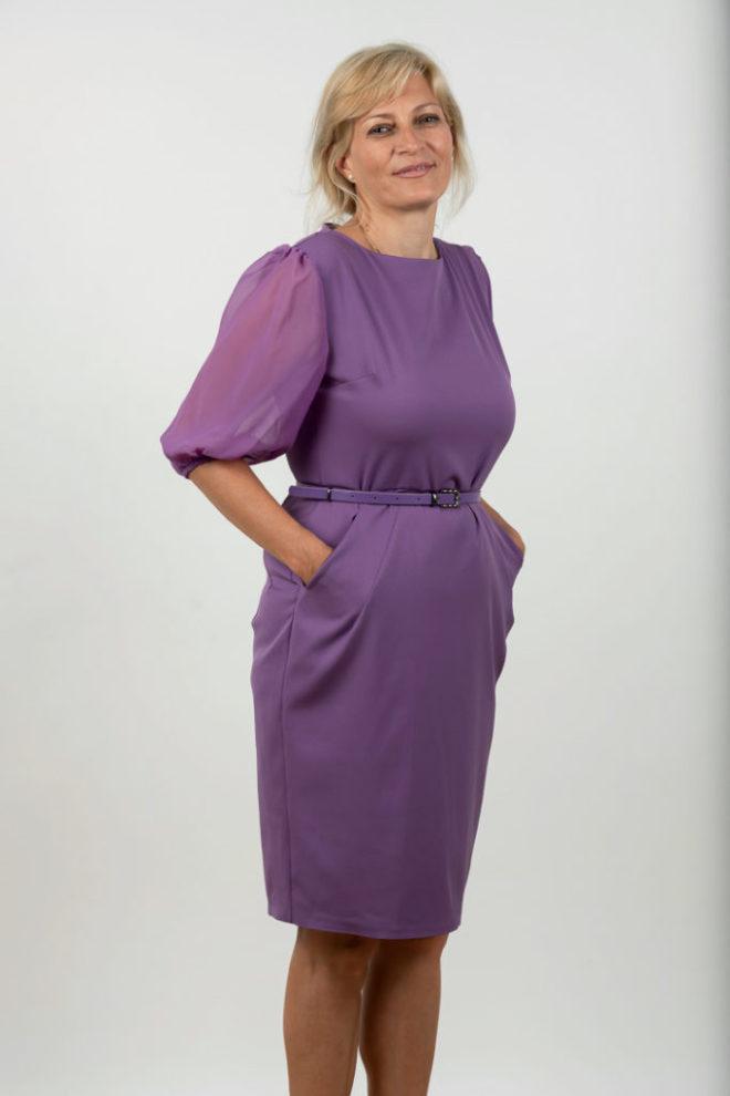 Rochie Plussize Eleganta Mov Cu Centura