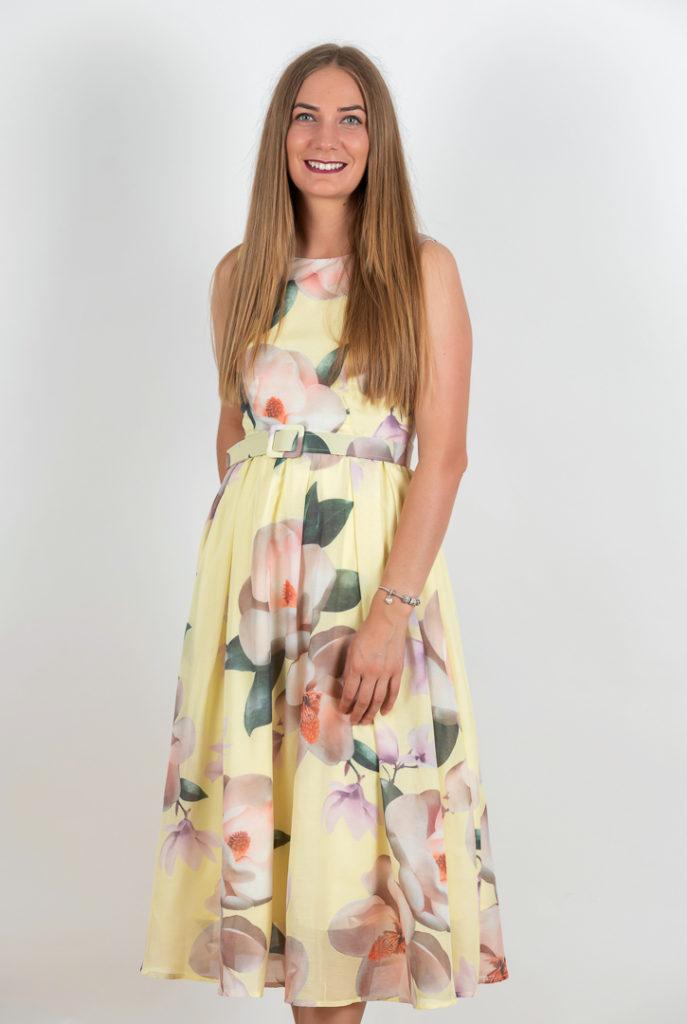 Rochie Eleganta Galbena Cu Imprimeu Floral