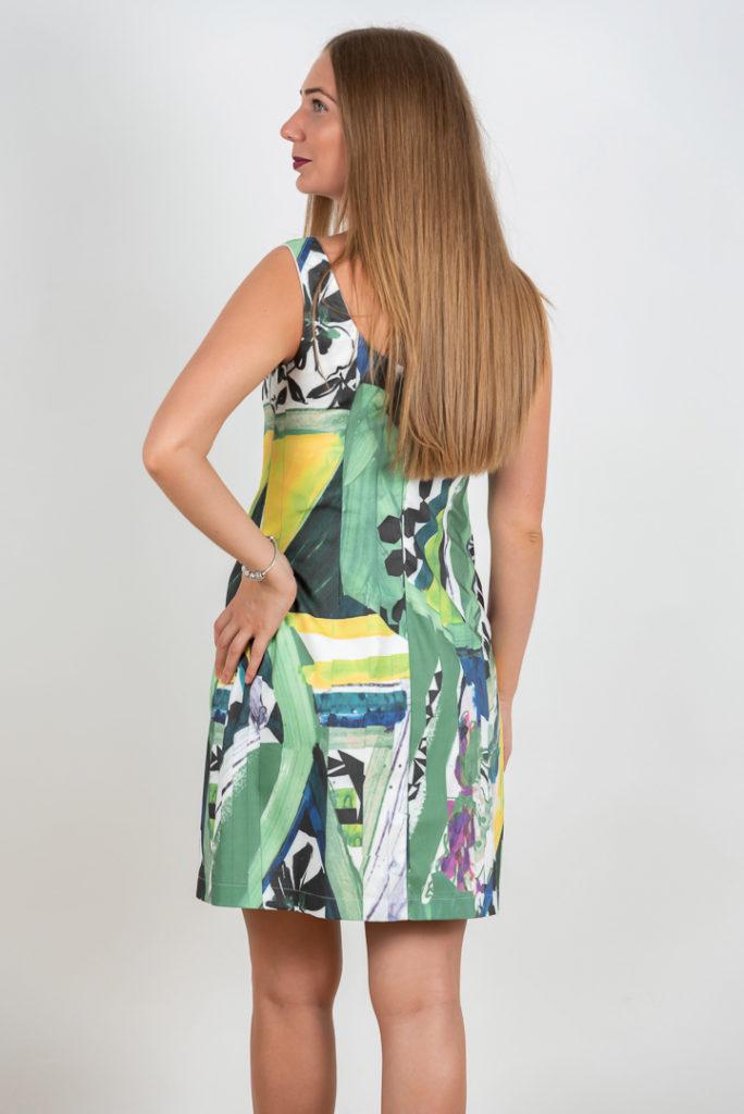 Rochie Scurta De Vara Verde Cu Imprimeu Abstract Spate