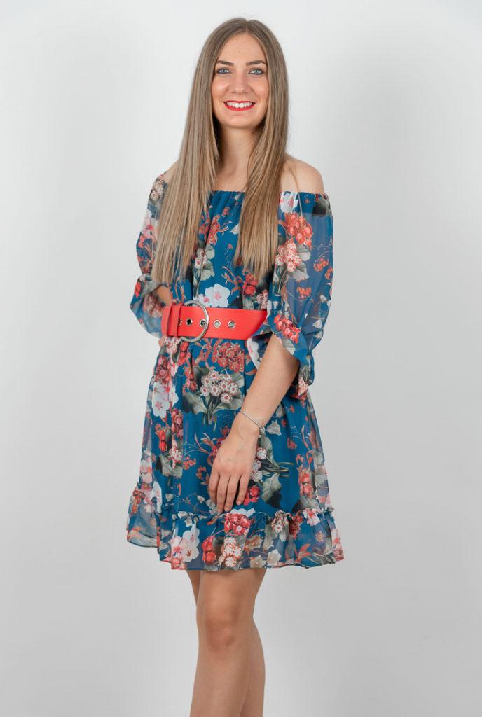 Rochie De Zi Albastra Cu Imprimeu Si Centura