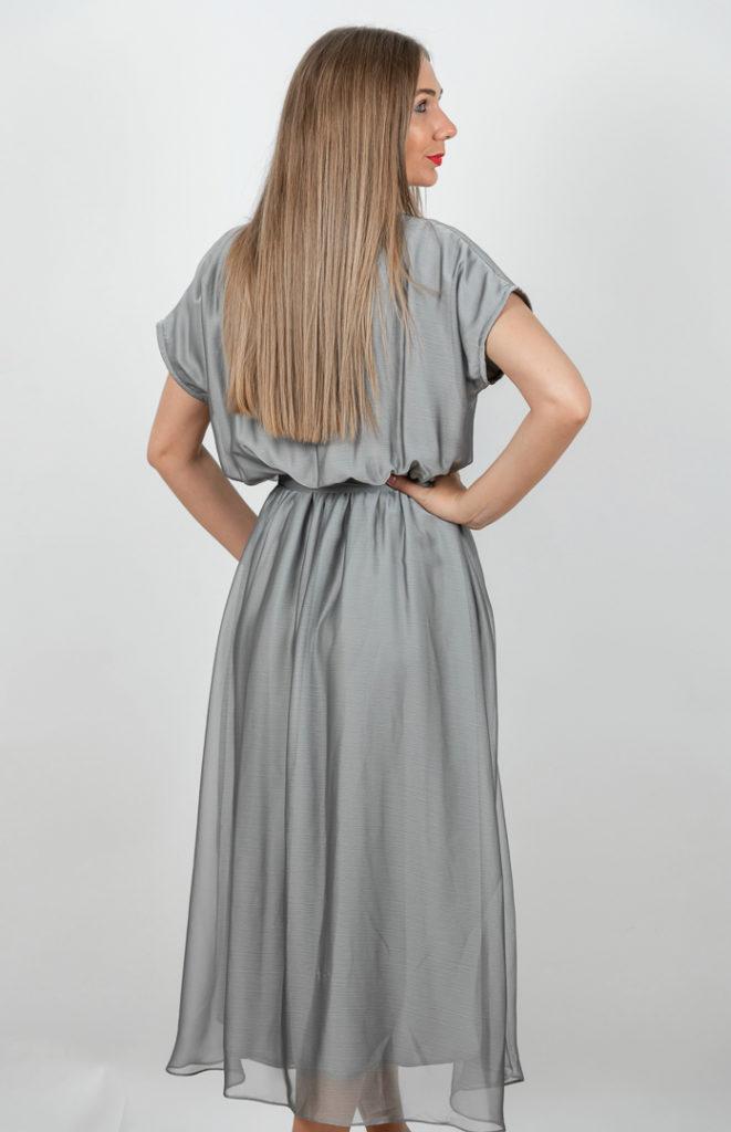Rochie Eleganta Gri Cu Umerii Cazuti Spate
