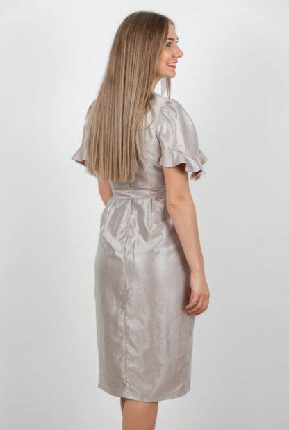 Rochie Eleganta Gri Metalizat Spate