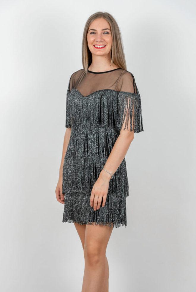 Rochie Eleganta Neagra Cu Franjuri Argintii