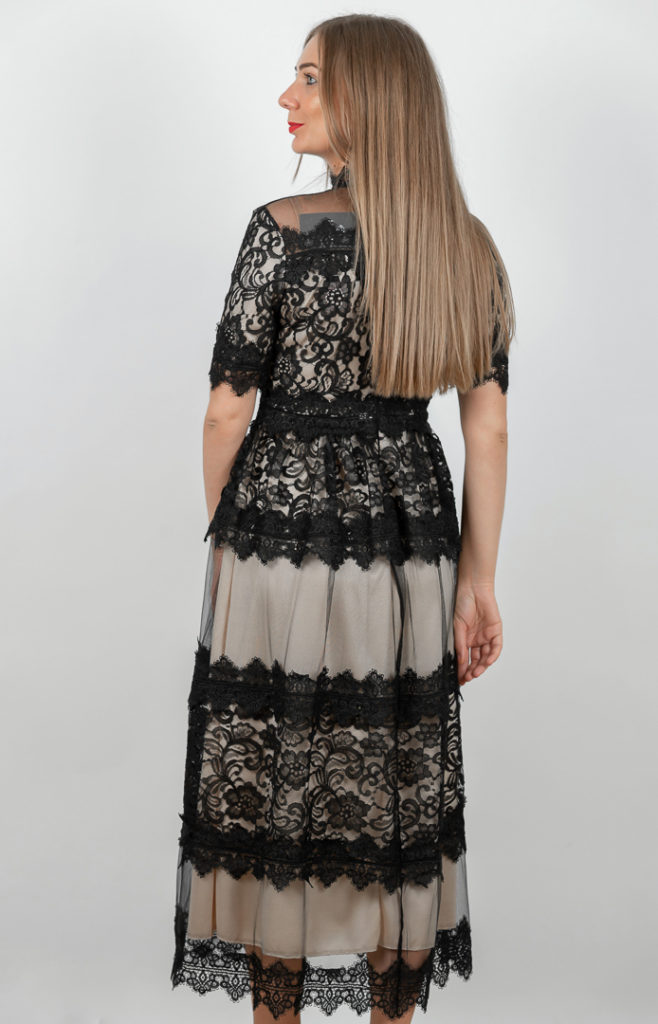 Rochie Eleganta Neagra Din Dantela Spate