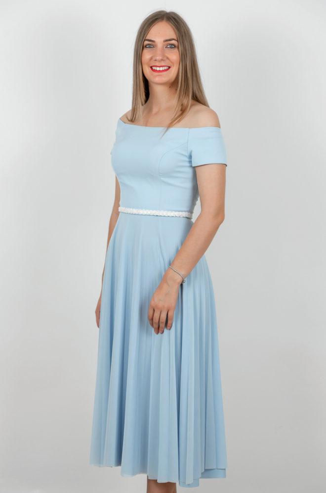 Rochie Plisata Eleganta Albastra