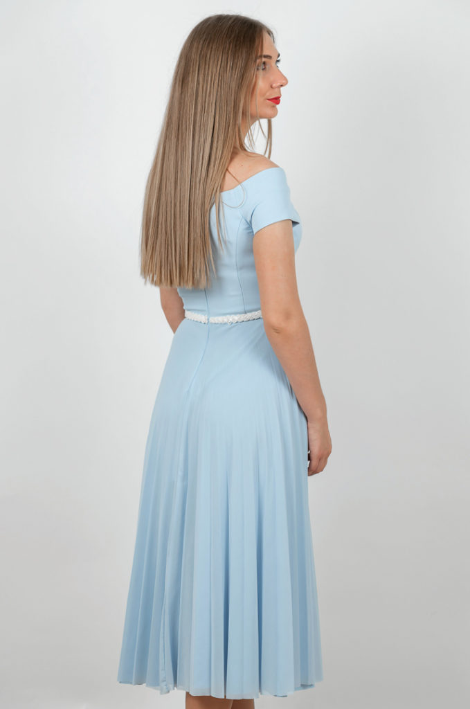 Rochie Plisata Eleganta Albastra Spate