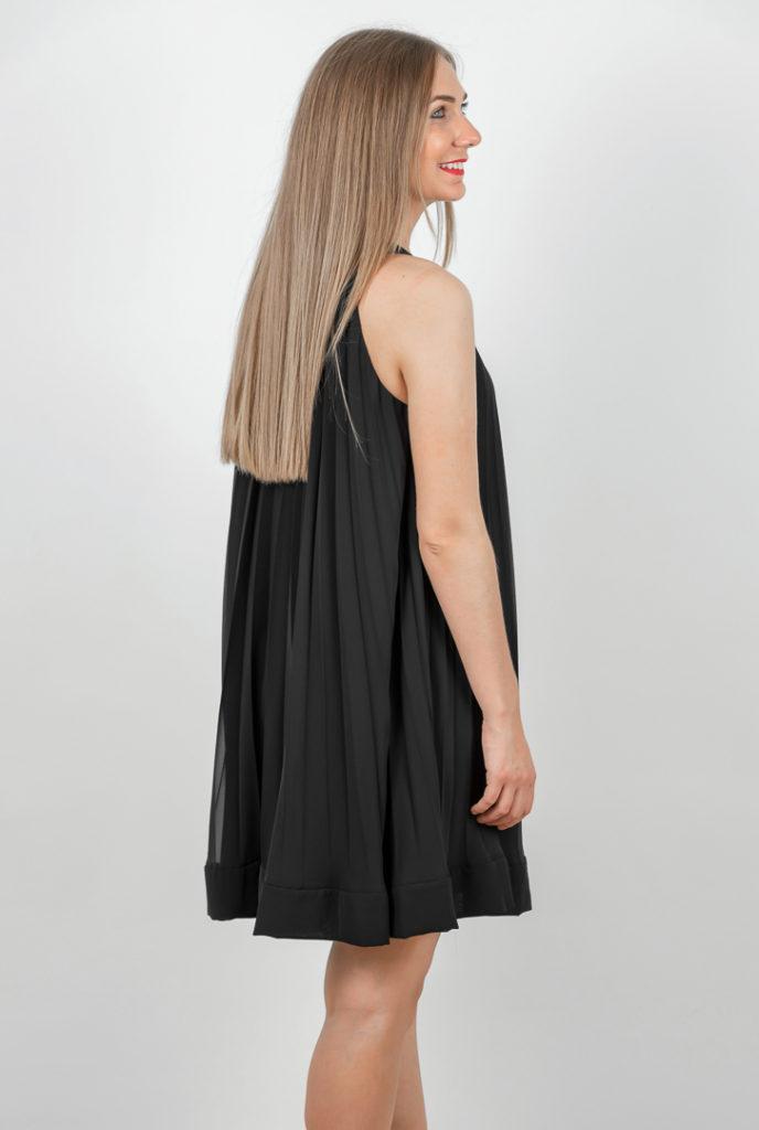 Rochie Plisata Neagra Scurta Spate