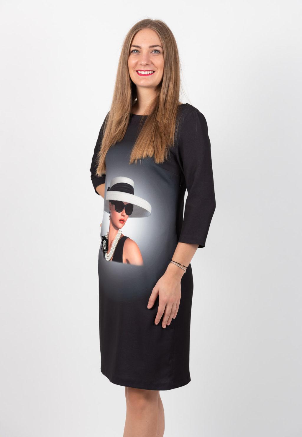 Rochie Neagra Mini Cu Imprimeu