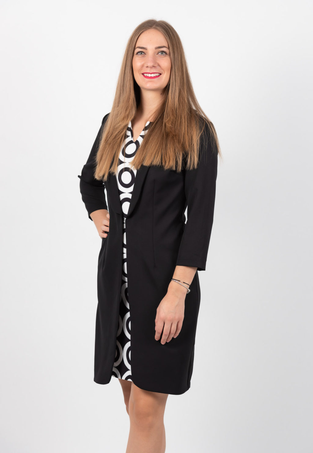 Rochie Sacou Office Negru Cu Alb